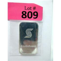 "1 Troy Oz. .999 Fine Silver ""Scotiabank"" Bar"