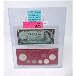1967 Centennial Dollar Bill and Coin Set