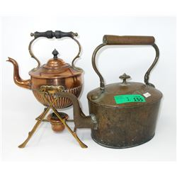 Vintage Copper Kettle and Toddy Kettle