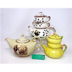2 Stacking and 1 Single Vintage Teapots