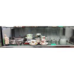 Shelf Lot - Pinwheel Crystal, Bone China & More