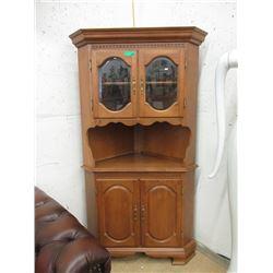 2 Piece Maple Corner Cabinet