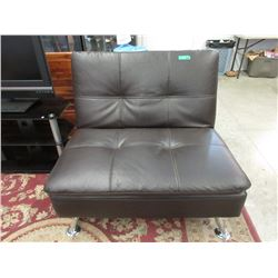 Brown Bonded Leather Click Clack Chair