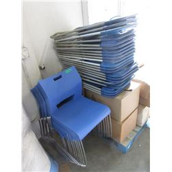 33 Blue Stacking and Folding Chairs