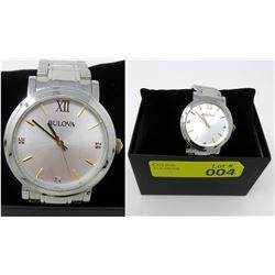 New in Box Men's 2-Tone 3 Diamond Bulova Watch