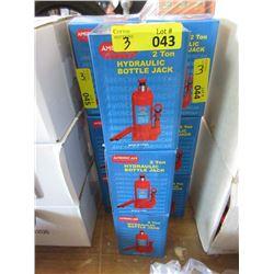 3 New 2 Ton Hydraulic Bottle Jacks
