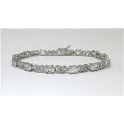 7.15 CT White Topaz & Diamond Tennis Bracelet