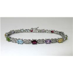 Diamond & Multi Gemstone Tennis Bracelet