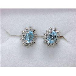 New Sterling Silver Blue Topaz & Diamond Earrings
