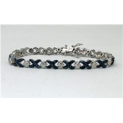Cross Over Design Blue Diamond Tennis Bracelet