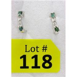 New Sterling Silver Emerald & Diamond Earrings