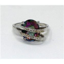 Mystic Topaz & Diamond Wrap Design Ring