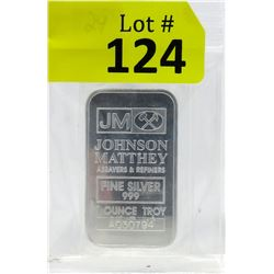 1 Oz. Johnson Matthey .999 Fine Silver Bar