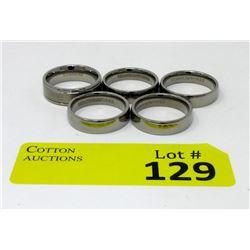 5 Brand New Men's Titanium Band Rings
