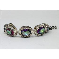 50 CTW Rainbow Mystic Topaz Bracelet