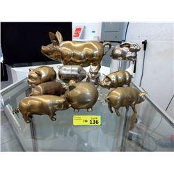 10 Metal Animal Coin Banks - Majority are Pigs