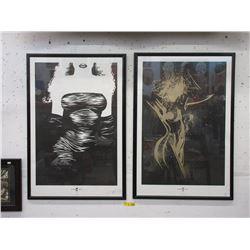 """Two Framed """"Sin City Dames"""" Frank Miller Prints"""