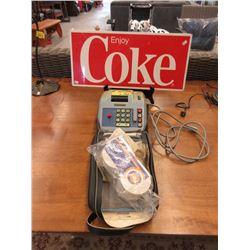 Metal Coke Sign & Eaton's Electric Adding Machine