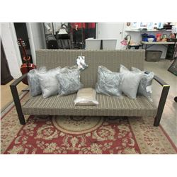 "70"" Patio Sofa with 6 Throw Cushions- Store return"