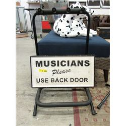Multi Guitar Stand and Wood Musician Sign