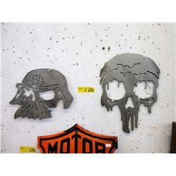 2 Biker Skull Metal Signs - Laser Cut Sheet Metal