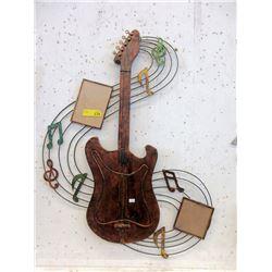 "Large Metal Wall Art Guitar - 26"" x 36"""