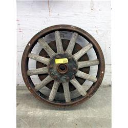 """Vintage 22"""" Diameter Wood Spoke Metal Wheel"""