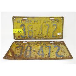 Pair of 1933 Alberta License Plates