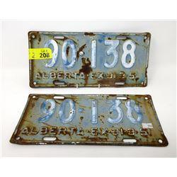 Pair of 1951 Alberta EX-31-3 License Plates
