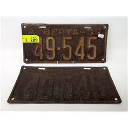 Pair of 1935 Alberta License Plates