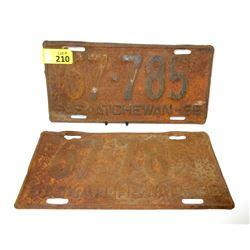 Pair of 1936 Saskatchewan License Plates