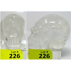 4  x 3  Carved 3-D Clear Quartz Gemstone Skull