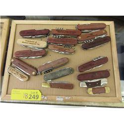 18 Wood Handled Multi-Tool Pocket Knives