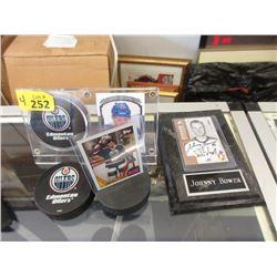 4 Piece Lot of Hockey Memorabilia - Pucks & Cards