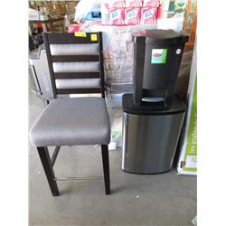 Chair, 2 Trash Cans and a Drying Rack