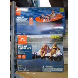 Ozark Trail Raft Boat and Riverland Floating Sofa