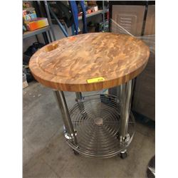 Round Wood Topped Rolling Kitchen Cart