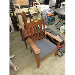 2 Vintage Oak Arm Chairs