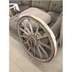 """Vintage 44"""" Metal Rim Wood Spoke Wheel"""