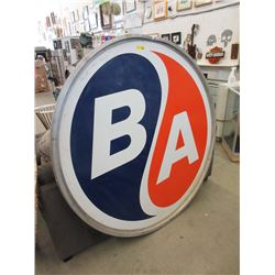 6 Foot British American Oil Metal Sign