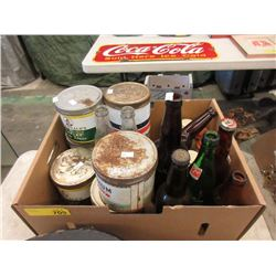 Box of Vintage Tobacco Tins & Glass Bottles