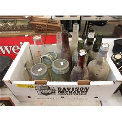 Box of Glass Bottles & Jars - Some Vintage