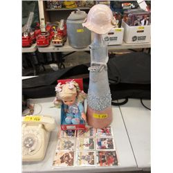 "22"" Pottery Statue, Toy & Hockey Cards"