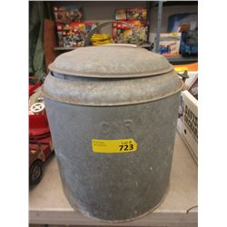 Vintage CNR Metal Bucket with Lid