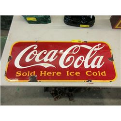 Vintage Porcelain Coca - Cola Sign