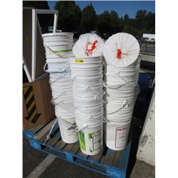 Skid of 6 Gallon Plastic Buckets with Lids