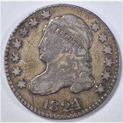 1824/2 BUST DIME, F/VF