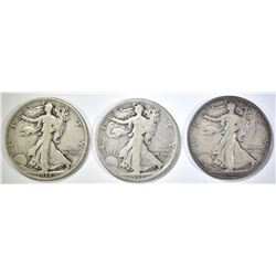 1917-D REV, 18-D,S WALKING LIBERTY HALVES VG-F
