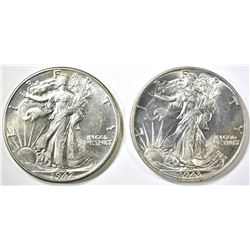 1942 & 43 WALKING LIBERTY HALF DOLLARS CH BU