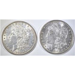 1902-O CH BU & 1898 AU/BU MORGAN DOLLARS